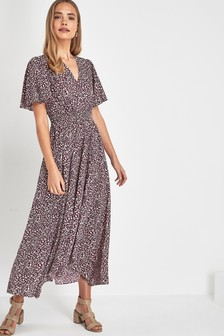 Shirred Waist Maxi Dress