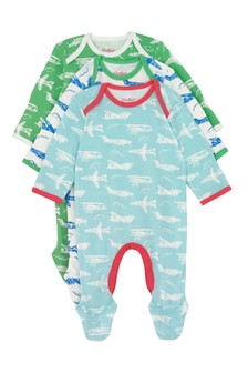Cath Kidston® Blue Mono Planes Baby Three Pack Sleepsuits
