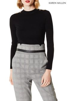 Karen Millen Black Metalwork Knit Jumper
