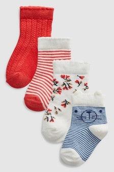 Набор из четырех пар коралловых носков (Младшего возраста)