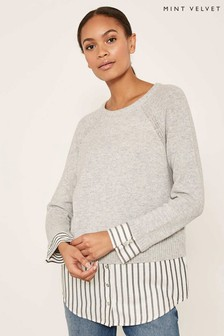 Mint Velvet Grey Stripe Shirt Hem Knit