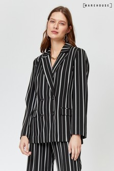 Warehouse Black Monochrome Stripe Blazer