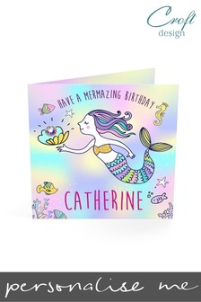 Personalised Mermaid Birthday Single Card by Croft Designs