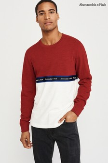 Abercrombie & Fitch Red/White Block Tee
