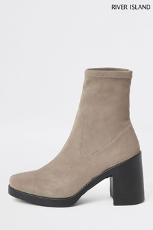 River Island Grey Sock Boot