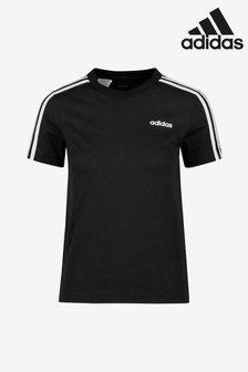adidas Black Essential 3 Stripe T-Shirt