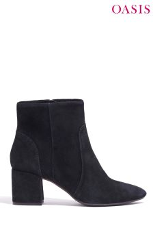 Oasis Black Suede Ankle Boot