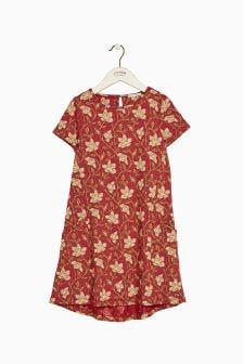 FatFace Red Simone Stitchwork Floral Dress