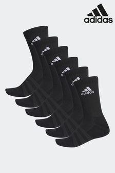 מארז ששה זוגות גרביים עם שוליים מעוגלים של adidas Adult בשחור