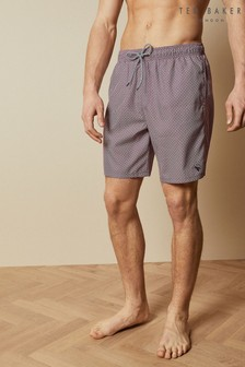 Ted Baker Purple Pinch Geo Print Midi Swim Shorts