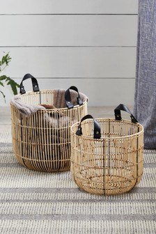 Set of 2 Cane Baskets