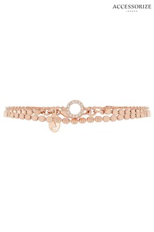 Z by Accessorize Crystal Rose Gold Chain Bracelet