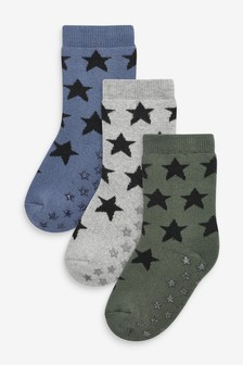 3 Pack Full Terry Cotton Rich Gripper Socks (Younger)