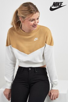 Nike Heritage Colour Block Cropped Crew