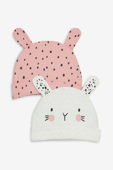 Bunny Character Beanie Hat Two Pack (0-18mths)