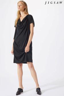 Jigsaw Black Modern Cowl Neck Dress