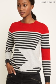 Mint Velvet Red Stripe And Star Mix Crew Neck Knit
