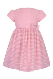 Girls Pink Cotton Bow Dress