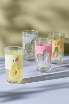 Set of 4 Fruit Tumbler Glasses