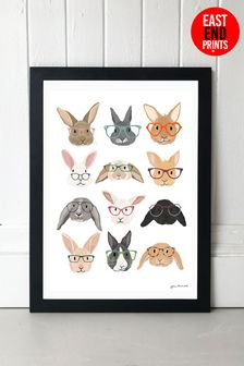 Rabbits In Glasses by Hanna Melin Framed Print