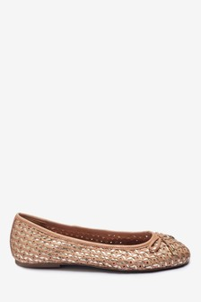 Weave Mix Leather Ballerinas