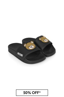Moschino Kids Kids Black Sliders