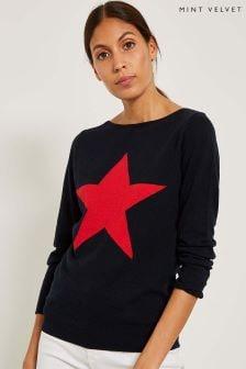 Mint Velvet Blue Star Front Crew Neck Knit