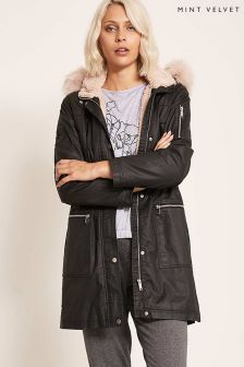 Mint Velvet Black Waxed Fur Collar Parka