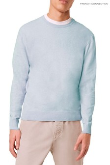 French Connection Blue Stretch Cotton Crew Knit Jumper