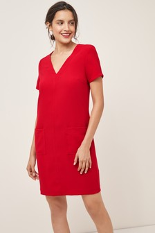 V-Neck Crepe Shift Dress