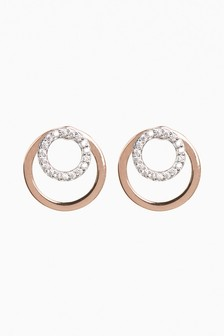 Rose Gold Plated Cubic Zirconia Mixed Metal Front To Back Earrings