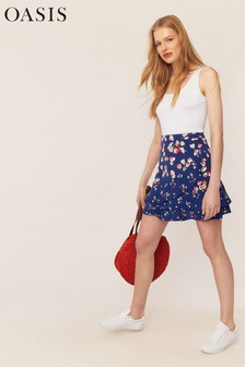 Oasis Blue Ditsy Print Mini Skirt