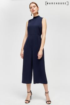 Warehouse Tie Neck Jumpsuit Navy