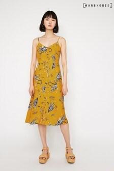 Warehouse Orange Leaf Button Cami Midi Dress