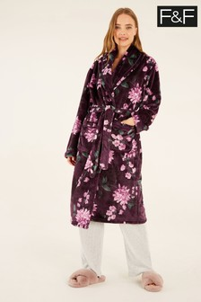 F&F Burgundy Plum Floral Fleece Robe