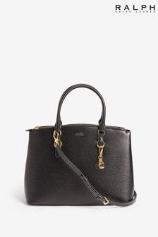 Кожаная сумка с короткими ручками и двойной молнией Ralph Lauren