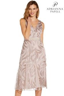 Adrianna Papell Pink Sequin Embroidered Sheath Dress