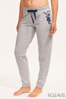 Figleaves Grey Hummingbird Embroidered Jogger