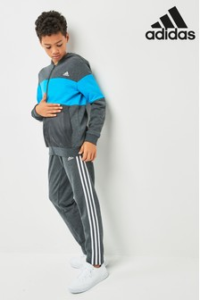adidas Dark Grey Heather/Blue Fleece Tracksuit