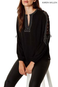 Karen Millen Black Graphic Ethnic Blouse