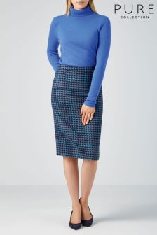 Pure Collection Multi Blue Dogtooth Wool Pencil Skirt