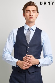DKNY Slim Fit Teal Texture Waistcoat