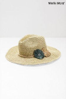 new concept 63895 ae9ba White Stuff Natural Flower Fedora Hat