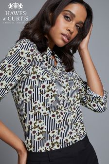 Hawes And Curtis Black Relaxed Fit Stripe And Flower Print Shirt With Pockets