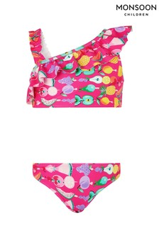 Monsoon Pink Fruit Print One Shoulder Bikini Set