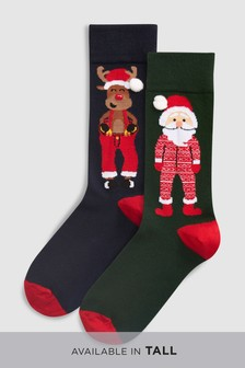 And Santa Christmas Hat Socks Two Pack