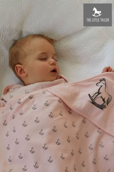 The Little Tailor Pink Baby Rocking Horse Blanket