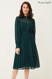 Phase Eight Green Izzy Button Detail Dress