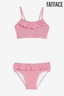 FatFace Red Seersucker Stripe Bikini