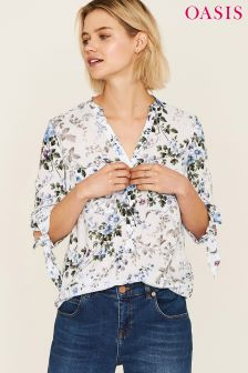 Oasis Blue Provence Trailing Large Ditsy Shirt